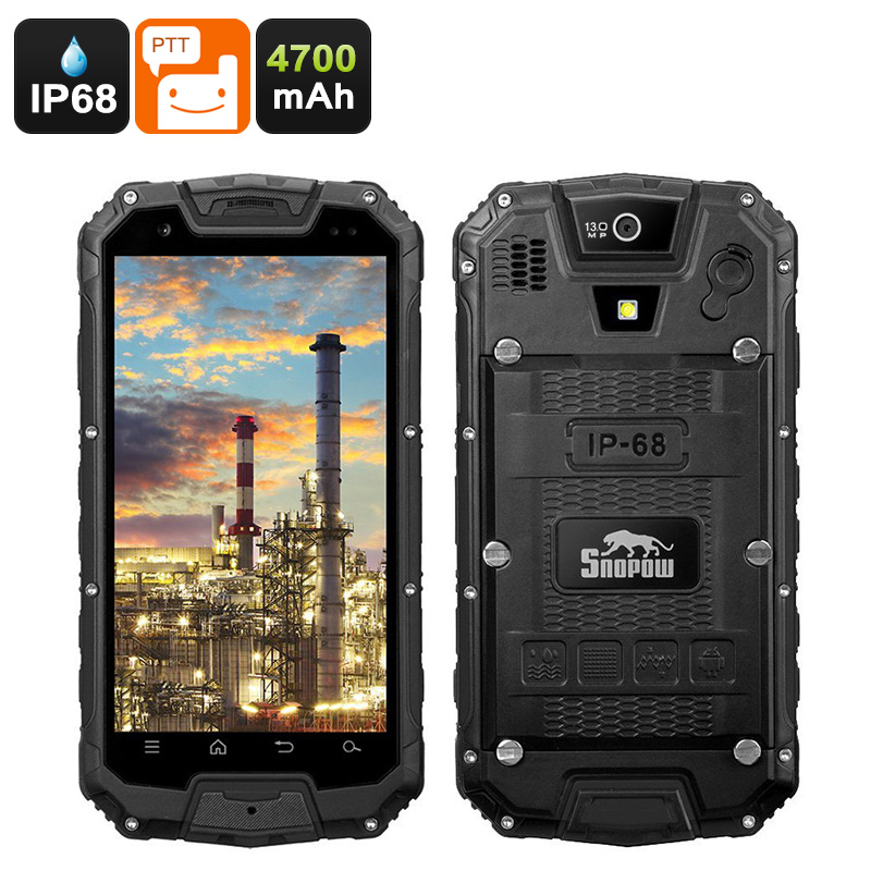 Wholesale Snopow M5P Dual SIM 4G Rugged Phone W/ Walkie-Talkie (IP68 Waterproof, 4700mAh, Black)