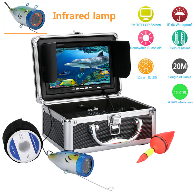 Wholesale Underwater Fishing Camera with 7 Inch Monitor, 20 Meter Cable, Hard Carrying Case (1000TVL, 4400mAh, CCD)