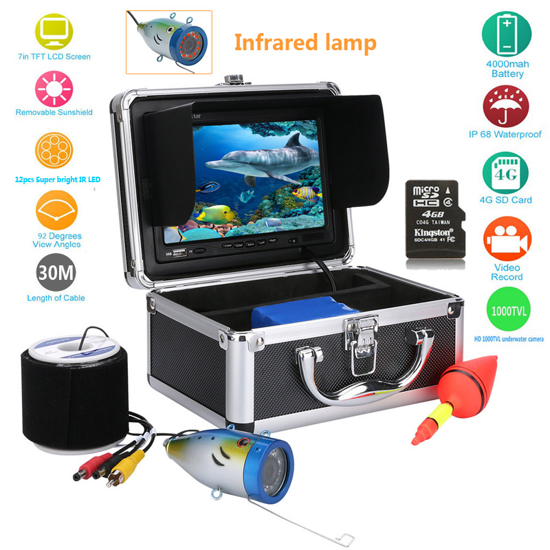 Wholesale Underwater Fishing Camera + HD DVR Recorder with 7 Inch Monitor, 30 Meter Cable, Hard Carrying Case
