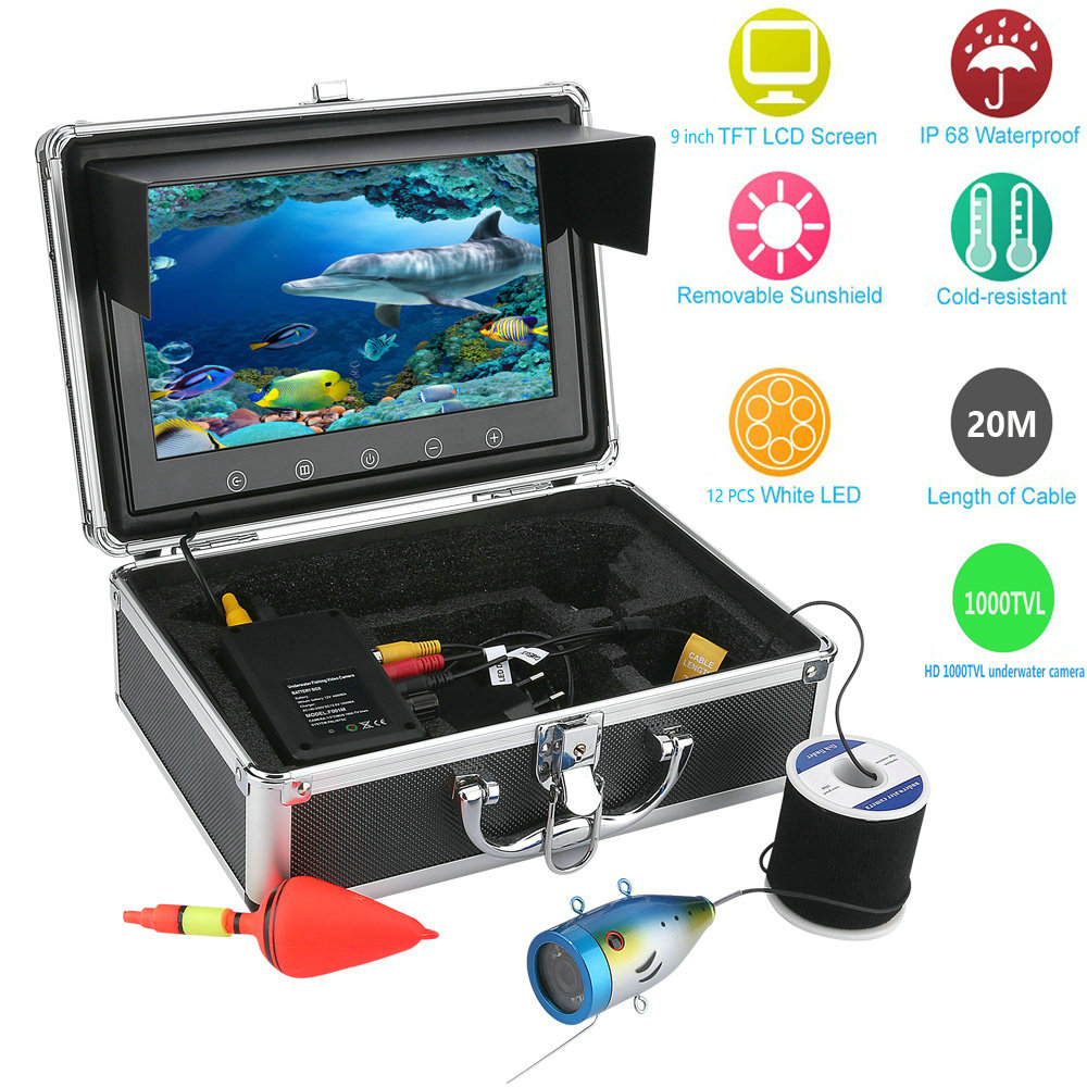 Wholesale Underwater Fishing Camera with 9 Inch Monitor, 20 Meter Cable, Hard Carrying Case (CCD, 4000mAh)