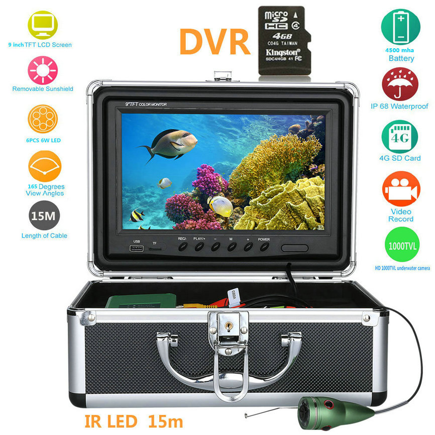 Wholesale Underwater Fishing Camera with DVR, 9 Inch Monitor, 20 Meter Cable, Hard Carrying Case (CMOS, 4500mAh)