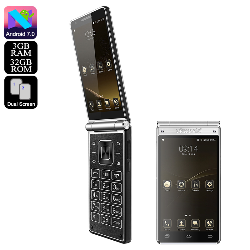Wholesale VKWorld T2 Plus Dual Display Flip Smartphone (Quad-Core CPU, And