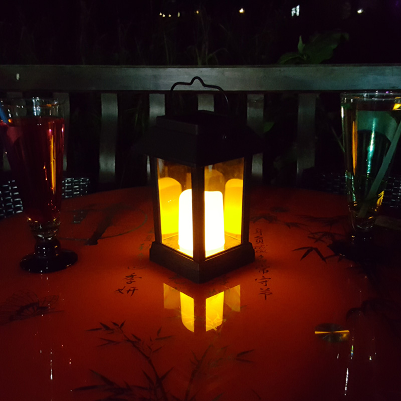 Intelligent Candle Effect Solar Decorative Wall Lights (IP44 Waterproof, Warm Yellow LED)