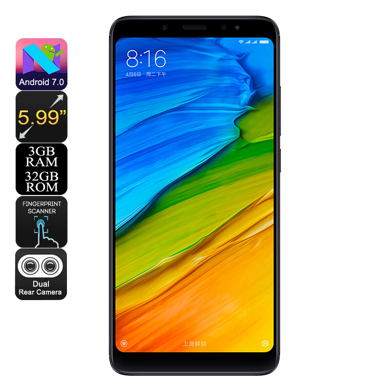Wholesale Xiaomi Redmi Note 5 5.99 Inch 2K Android 7.0 Phone (Snapdragon Octa-Core CPU, 4GB RAM, 12MP Dual-Cam, 64GB, Black)