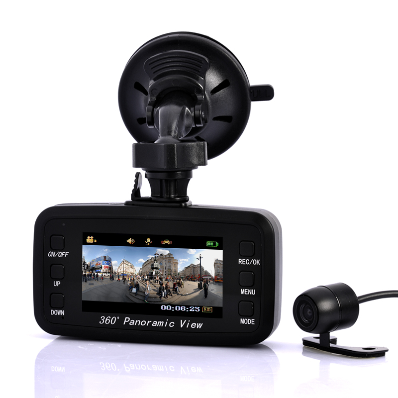 Wholesale Road View - Car DVR Black Box Camera - 260 Degree Front Viewing Angle, 130 Degree Rear Viewing Angle