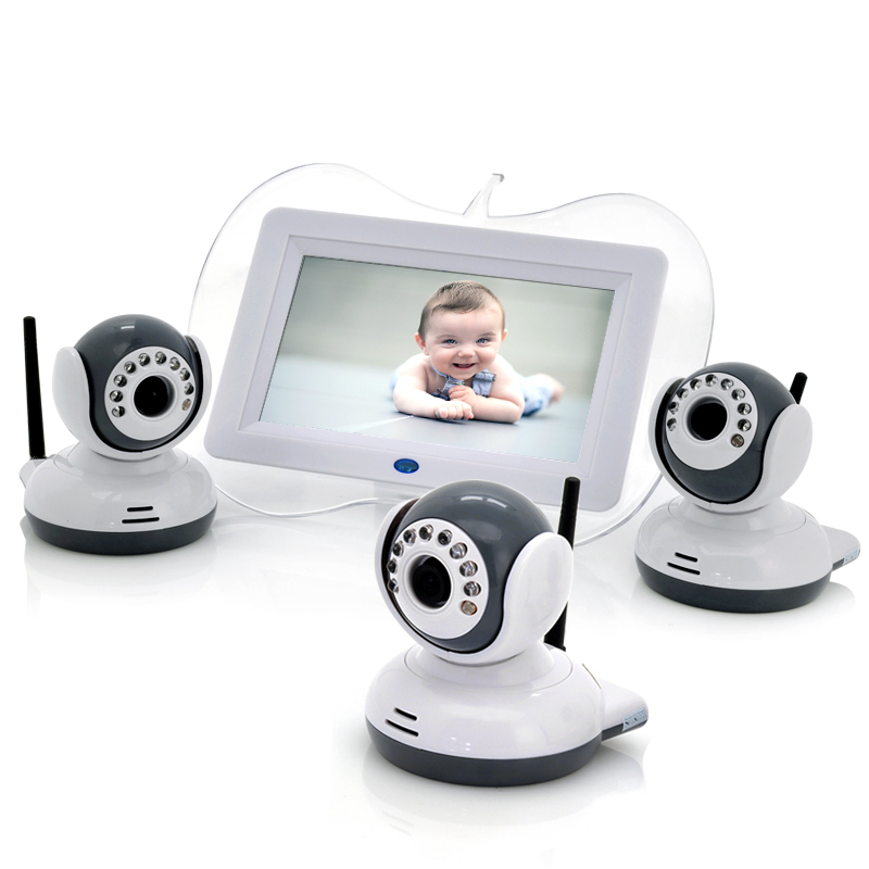 Wholesale Digital Wireless Baby Monitor with 3 Cameras (7 Inch Screen, 1/4 CMOS, Night Vision, 100m)