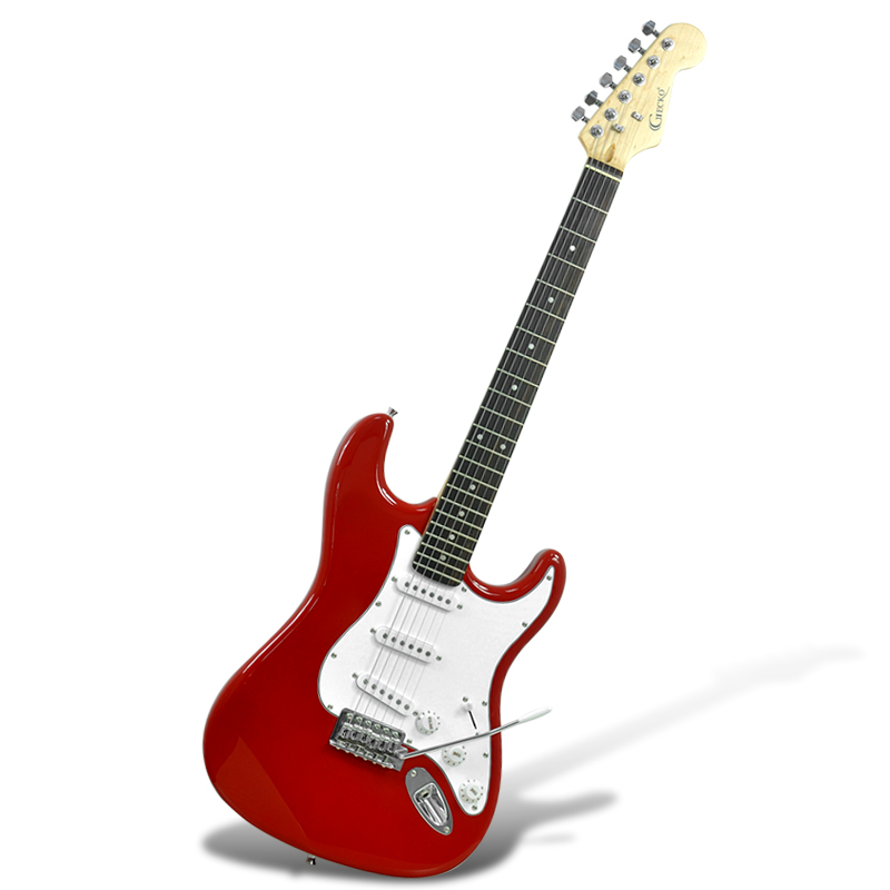 Wholesale Gecko GE-245 ST - Electric Guitar (22 Frets, 3 Single Coil Pickups, Whammy Bar, Red)