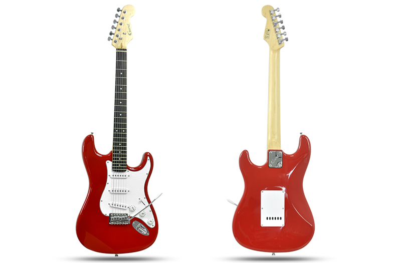 Gecko GE-245 ST - Electric Guitar (22 Frets, 3 Single Coil Pickups, Whammy Bar, Red)