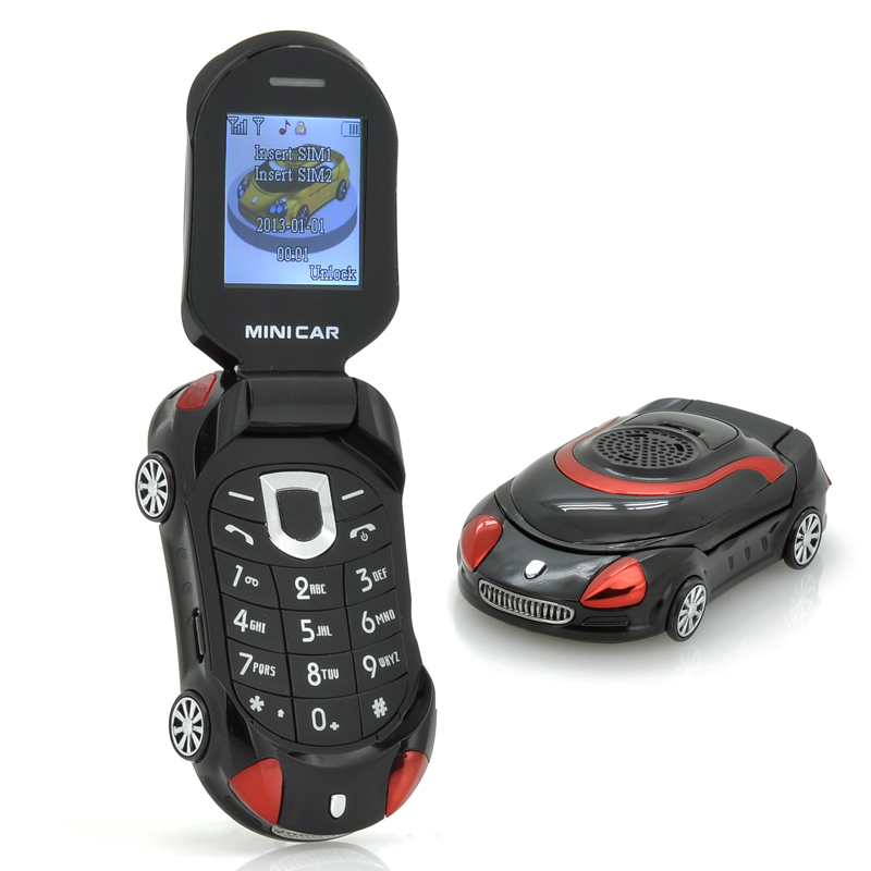 Wholesale Mini Car - Small Sports Car Shaped Mobile Phone For Children (Dual SIM, Clamshell Design, Black)