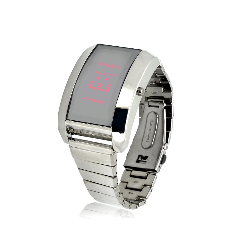 Wholesale Mini Red LED Watch with Stainless Steel Strap And Personalized Message Display