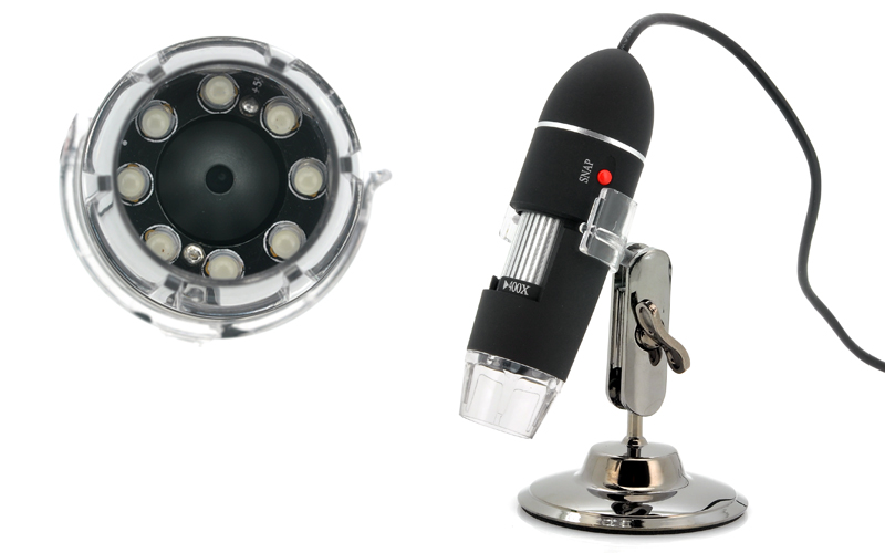 USB Digital Microscope (400x Zoom, 1600x1200, 8 Super Bright LEDs)