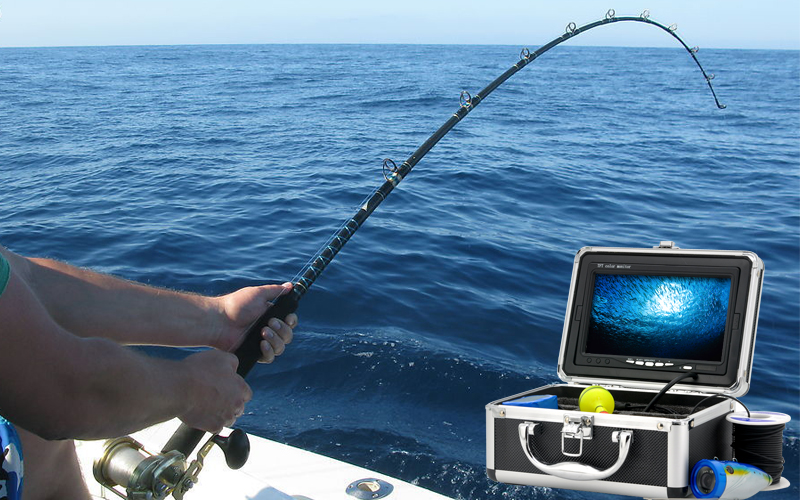 underwater fishing camera with 7 inch monitor and hard carrying, Reel Combo