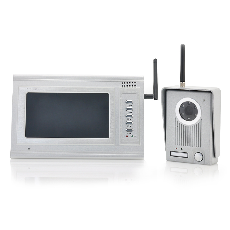 Wholesale 2.4GHz Wireless Video Door Camera with 7 Inch Monitor (300 Meter Range, 6 White LEDs, 380 TVL)
