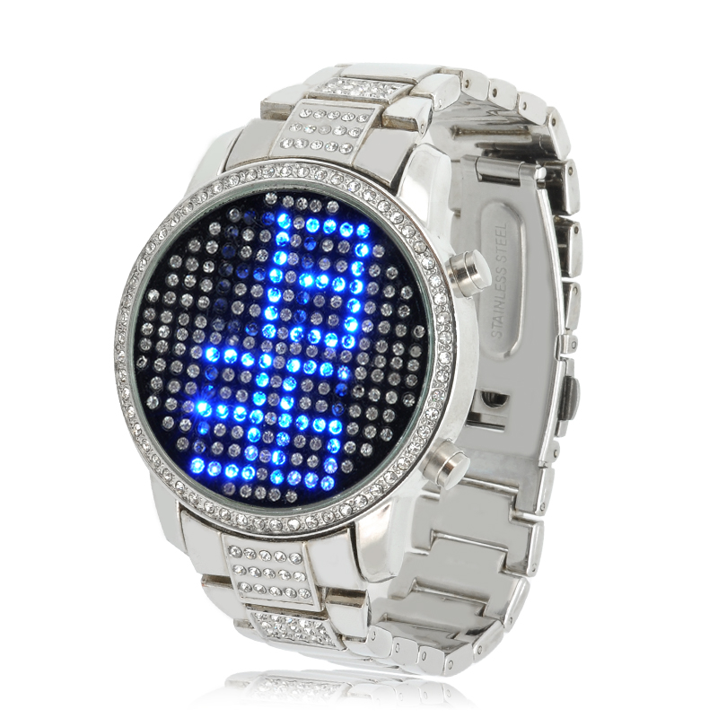 Wholesale Sapphire - Waterproof Blue Crystal LED Watch