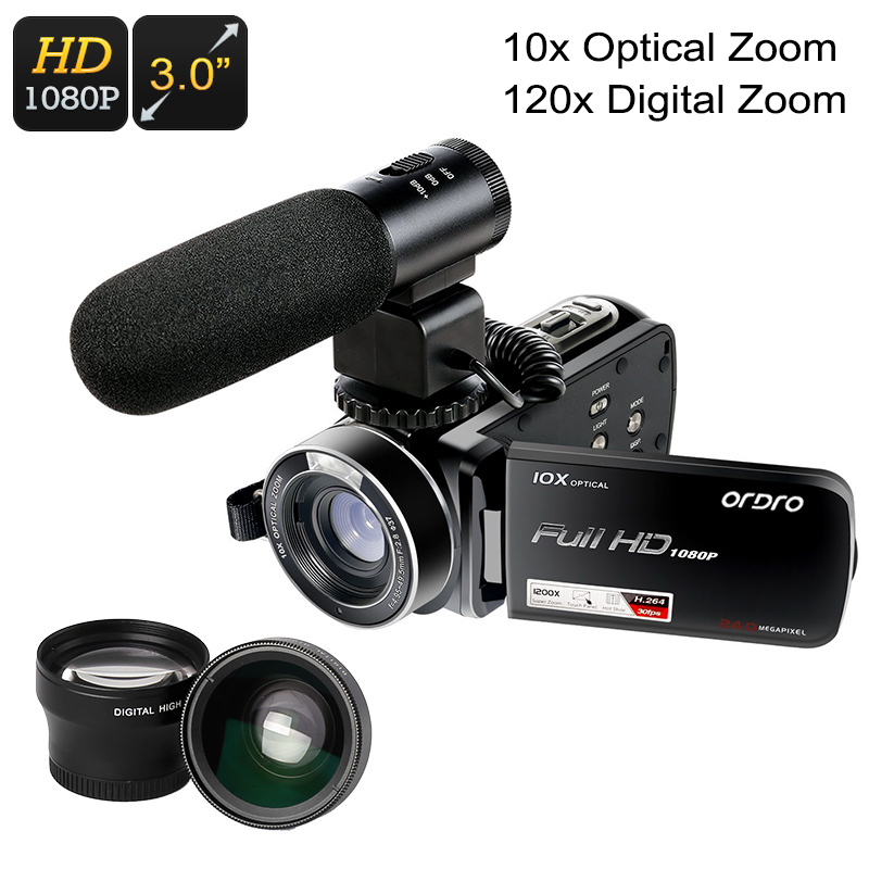 Wholesale 1080p Full HD Handheld Video Camera with Teleconverter, Wide-Angle Lens, Microscope, External Microphone