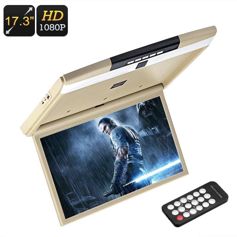 Wholesale 17.3-Inch 1080p FHD Car Roof Monitor with 2x Speaker, FM Transmitter, Remote Control