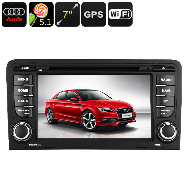 Wholesale 7 Inch 2 DIN Android Car DVD Player For Audi A3 (WiFi, GPS, Quad-Core CPU)