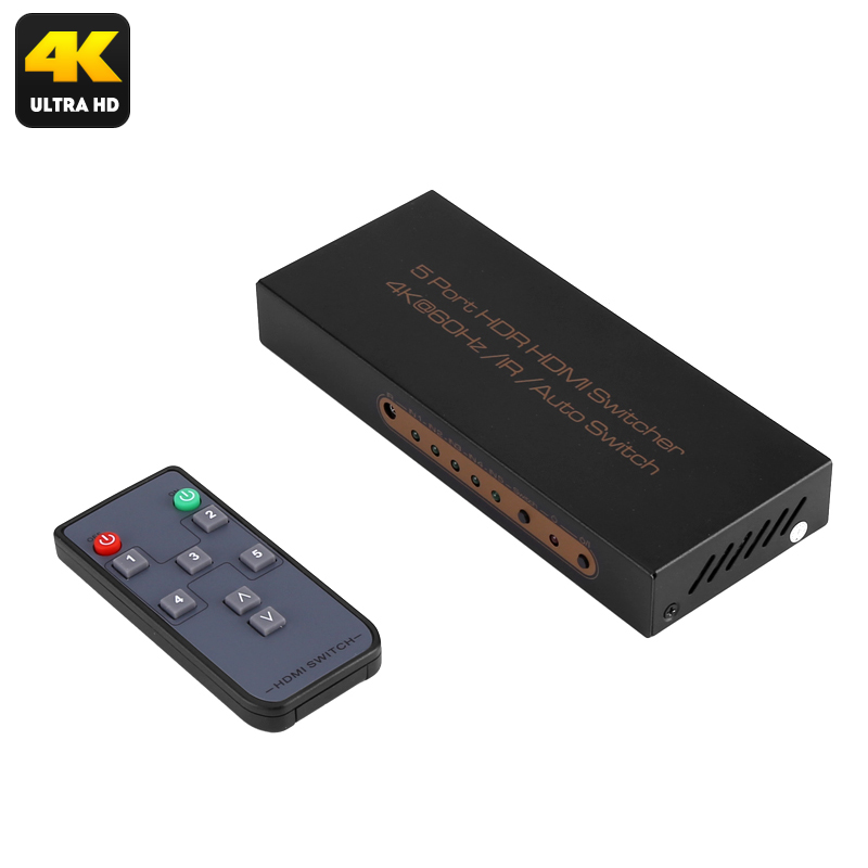 Wholesale 5 To 1 HDMI Switch Box with Remote Control (4K 3840x2160, Dolby Digital, 60FPS)