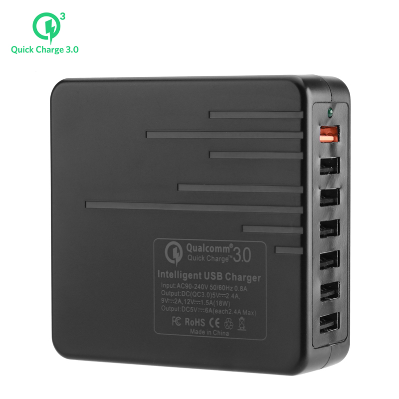 Wholesale Durable 7 Port USB Charger (1x Quick Charge 3.0, 6x USB 3.0, Power Switch, 140cm)