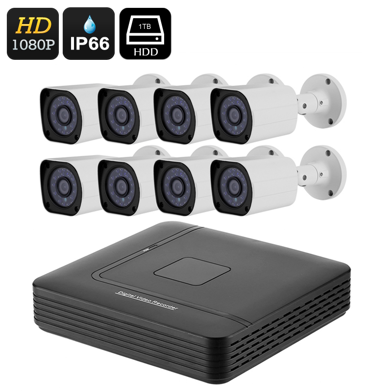 Wholesale 8 Channel AHD DVR System with 8 Full-HD 1/2.7 CMOS Waterproof Security Cameras (1080p, 20M Night Vision, 1TB HDD)