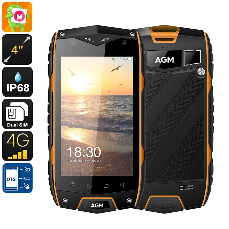Wholesale AGM A7 IP68 4 Inch 4G Rugged Phone (Dual-IMEI, OTG, Quad-Core CPU, 2GB RAM, 8MP Camera, 16GB)