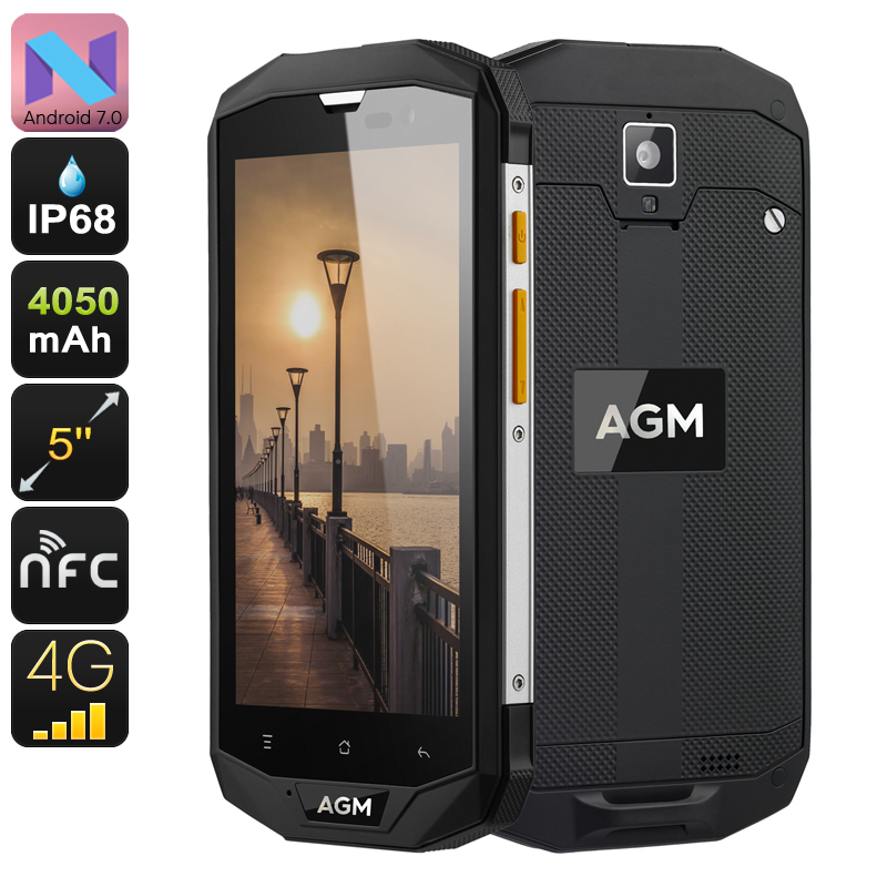Wholesale AGM A8 IP68 5 Inch 4G Rugged Android Phone with Quad-Core CPU, 3GB RAM, 13MP, NFC, 32GB