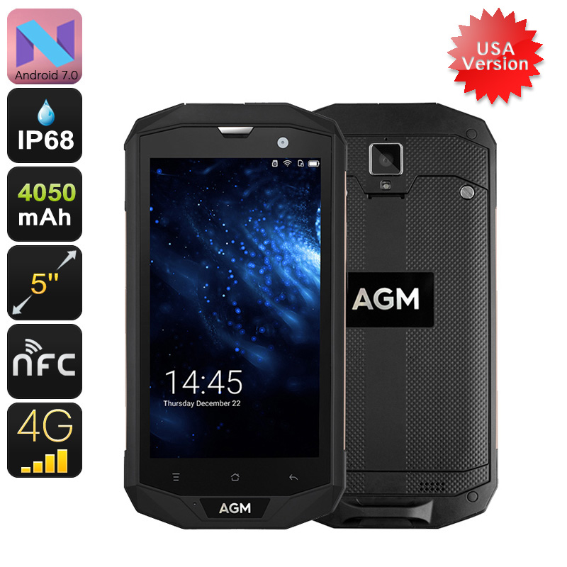 Wholesale AGM A8 5 Inch IP68 Rugged Android Phone with USA 4G, Quad-Core CPU, 3GB RAM, 13MP, NFC, 32GB