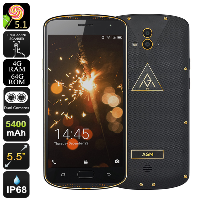 Agm X1 18k Gold Plated 5 5 Inch Ip68 Rugged Phone 4gb Ram