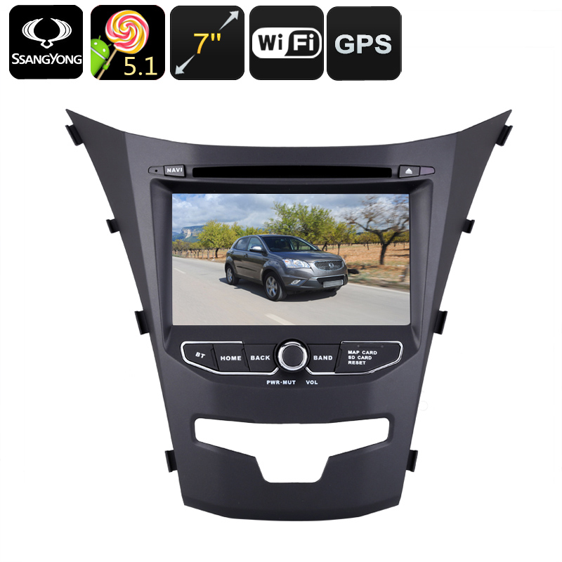 Wholesale 7 Inch Dual-DIN Android Car DVD Player + GPS for Ssangyong Korando (Region Free, Quad-Core CPU, 16GB)