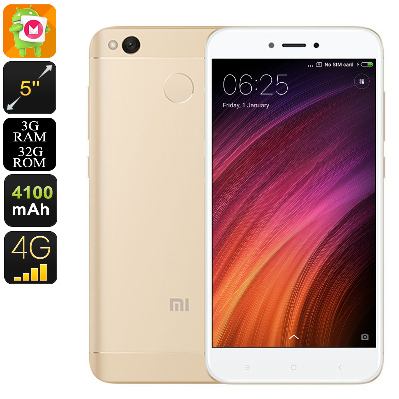 Wholesale Xiaomi Redmi 4X 5 Inch HD 4G Android Mobile Phone (Octa Core CPU, Dual-IMEI, Fingerprint, 13MP Camera, 32GB, Gold)