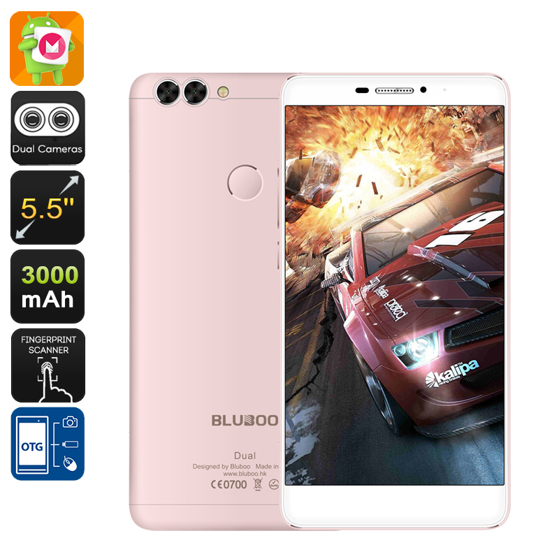 Wholesale Bluboo Dual 5.5 Inch FHD 4G Android Phone (1920x1080, Dual Camera, Quad-Core CPU, 16GB, Rose Gold)