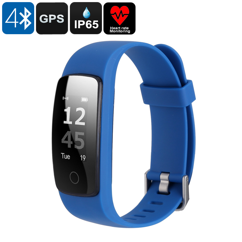 Wholesale Bluetooth Fitness Band (Heart Rate Monitor, GPS, IP65 Waterproof, Sedentary Alert, Blue)