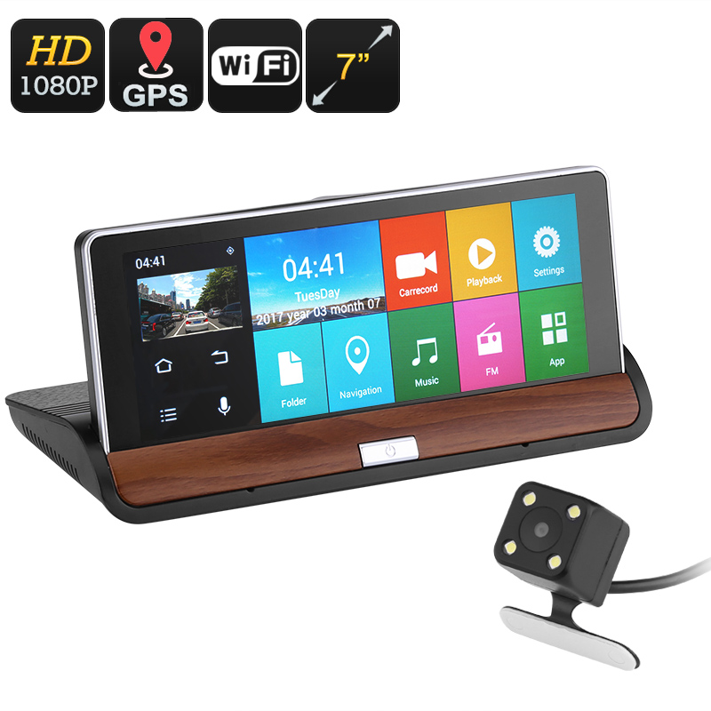 Wholesale 7 Inch Android Car DVR with GPS Navigator, Front + Rear Parking Cameras - 1080p Full HD Recording