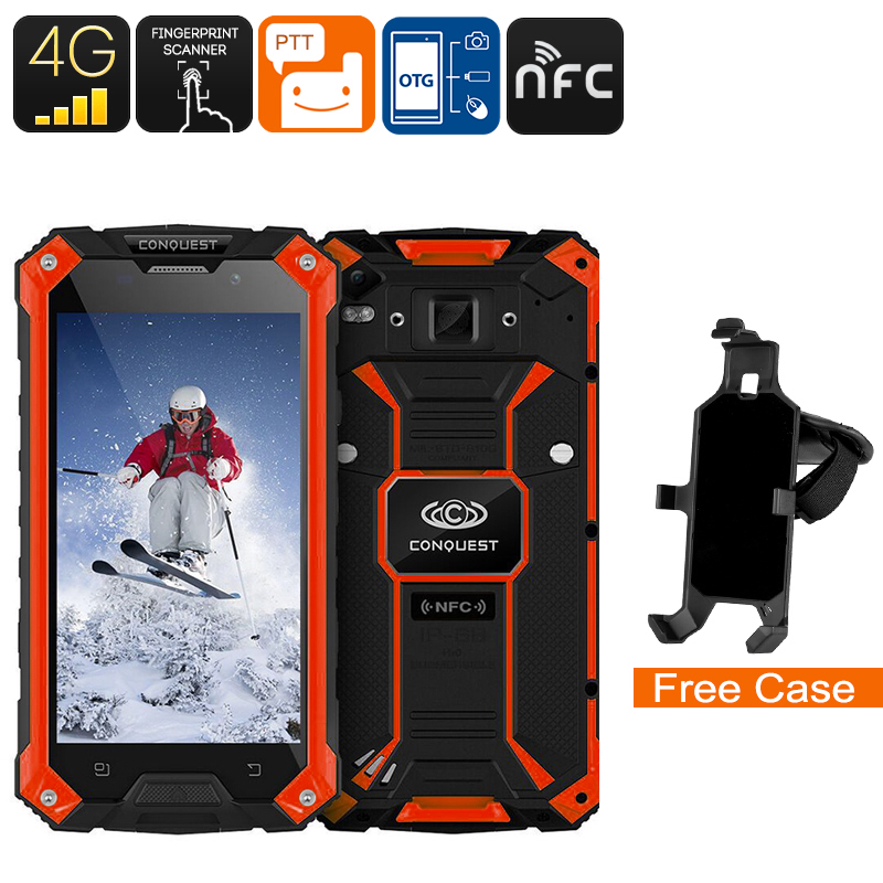 Wholesale Conquest S6 5 Inch HD 4G Rugged Android Phone (IP68 Waterproof, Octa-Core CPU, NFC, Fingerprint, 3GB RAM, 32GB, Red)
