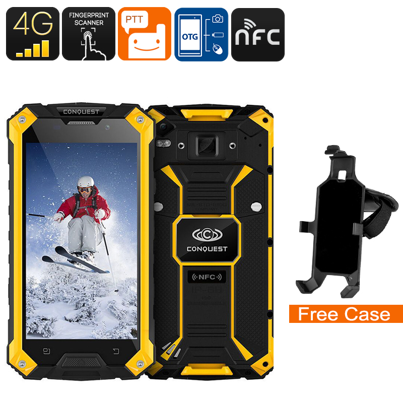 Wholesale Conquest S6 5 Inch HD 4G Rugged Android Phone (IP68 Waterproof, Octa-Core CPU, NFC, Fingerprint, 3GB RAM, 32GB, Yellow)