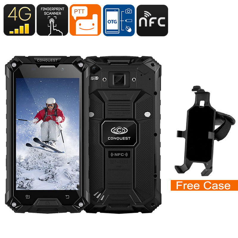 Wholesale Conquest S6 5 Inch HD 4G Rugged Android Phone (IP68 Waterproof, Octa-Core CPU, NFC, Fingerprint, 3GB RAM, 32GB, Black)