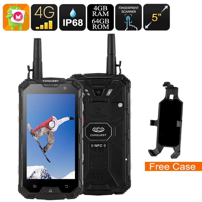 Wholesale Conquest S8 2017 Edition 4G Rugged Phone + Walkie Talkie (IP68 Waterproof, IR Transmitter, Octa Core CPU, 4GB RAM, 64GB, Black)