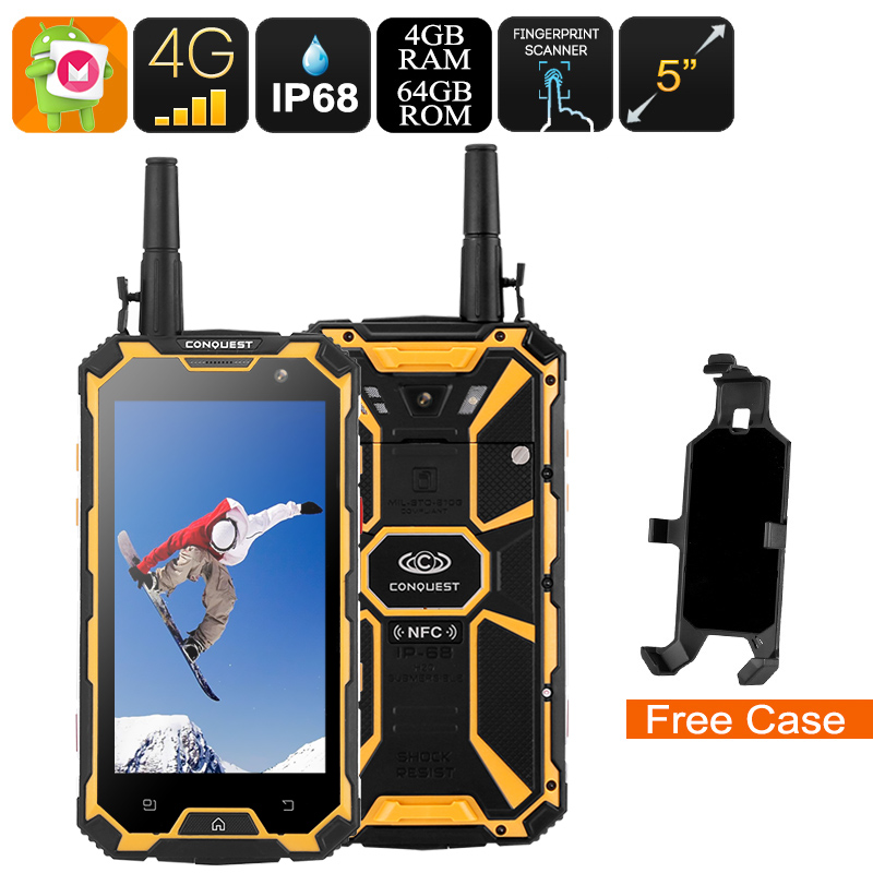 Wholesale Conquest S8 2017 Edition 4G Rugged Phone + Walkie Talkie (IP68 Waterproof, IR, Octa Core CPU, 4GB RAM, 64GB, Yellow)