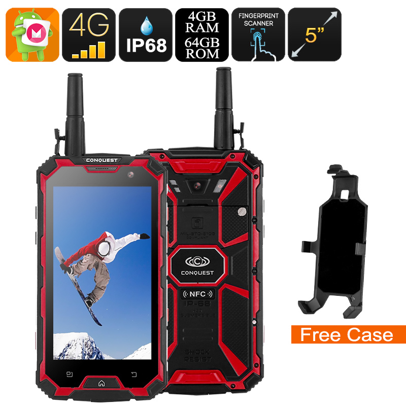 Wholesale Conquest S8 2017 Edition 4G Rugged Phone + Walkie Talkie (IP68 Waterproof, IR Transmitter, Octa Core CPU, 4GB RAM, 64GB, Red)