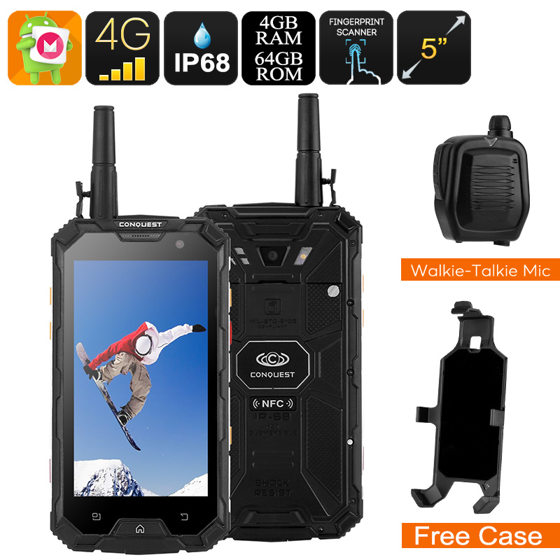 Wholesale Conquest S8 2017 Edition 5 Inch Outdoor Phone with Walkie-Talkie Microphone (IP68 Rugged, Octa-Core CPU, 4GB RAM, 64GB, Black)