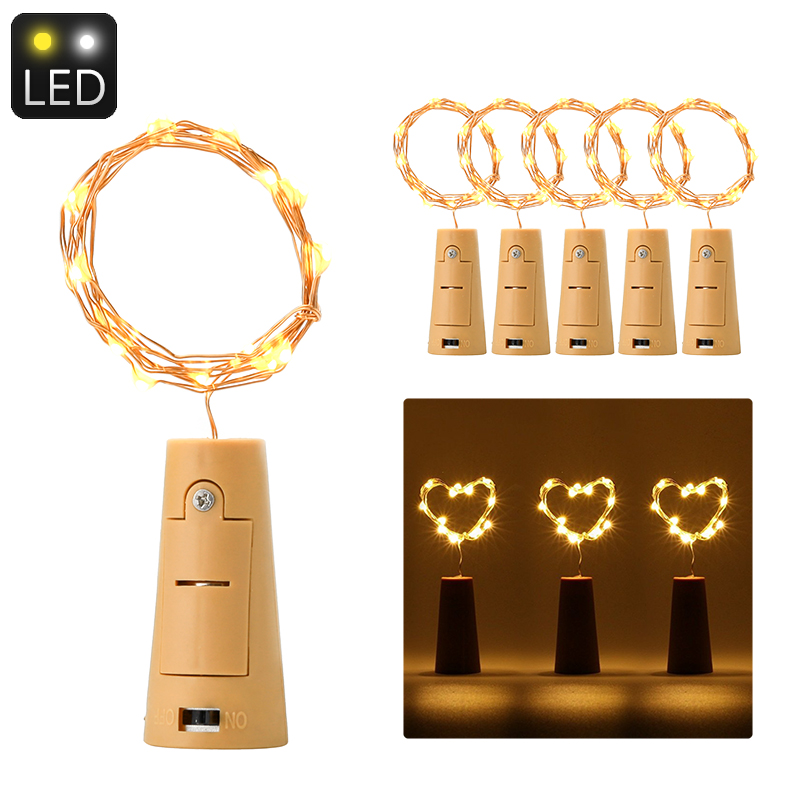 Wholesale Cork Shaped LED Light String (6 Pieces, 18 Micro LED, Water Resistant, 90cm Length, Warm Yellow)