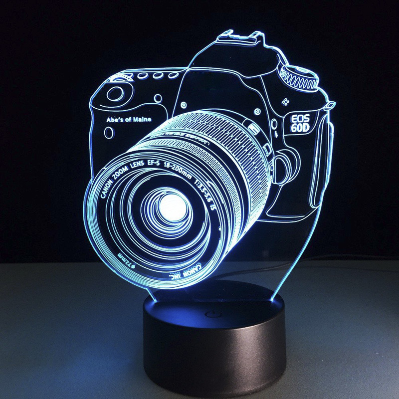 Wholesale Creative 3D LED Lamp with Camera Shaped Decoration (7 Colors, 5W