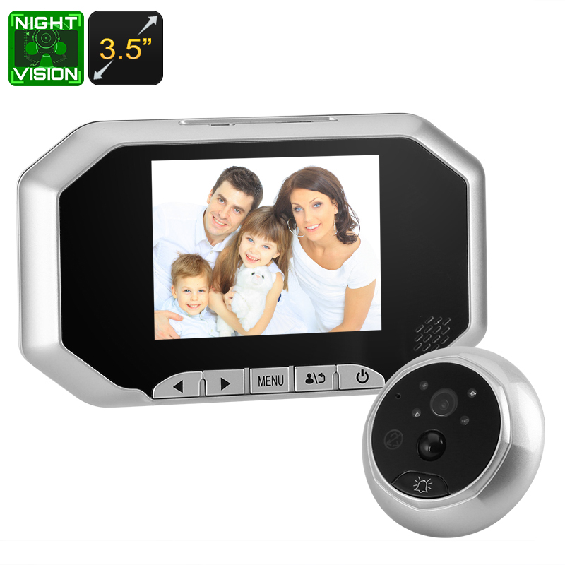 Wholesale Danmini PIR 720P Peephole Video Doorbell (1/4 Inch CMOS, Nightvision, 3.5 Inch LCD, Wide Angle, Silver)