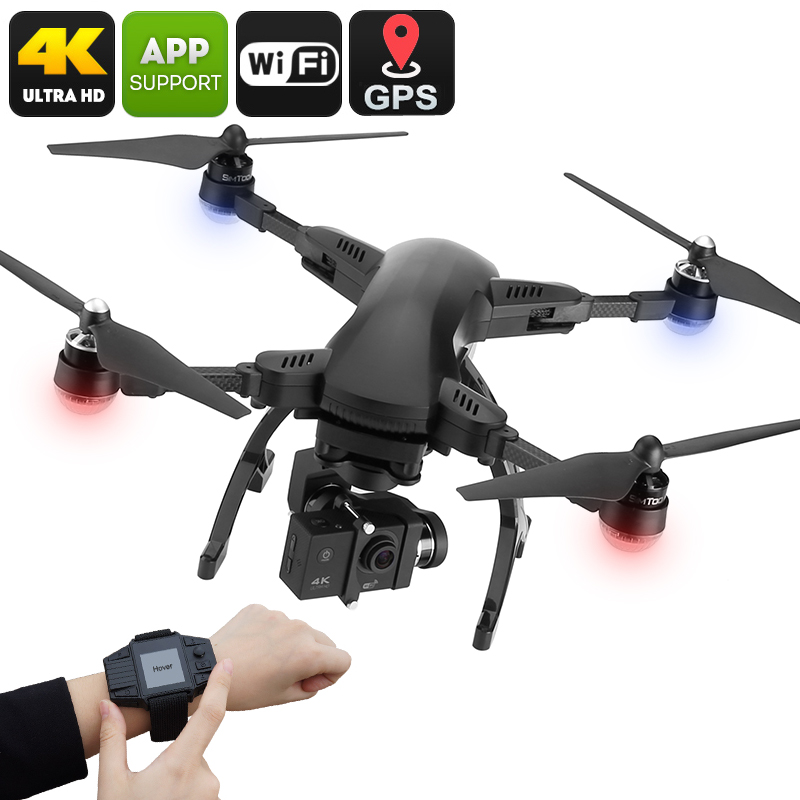 Wholesale Simtoo Dragonfly Pro 4K 16MP Camera Drone with GPS Control Watch (Foldaway Arms, 3-axis Gimbal, Follow Me, Black)