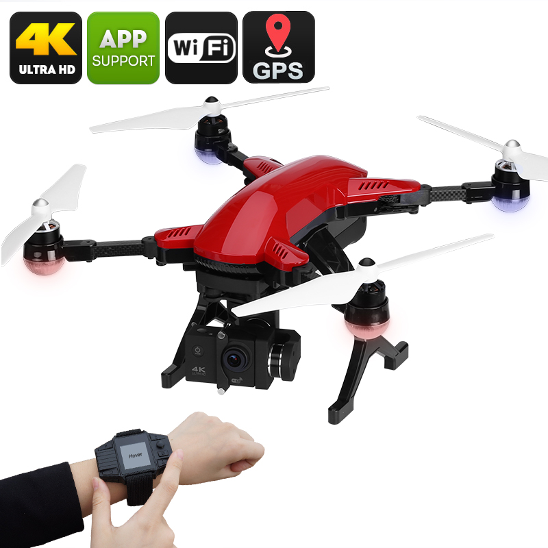 Wholesale Simtoo Dragonfly Pro 4K 16MP Camera Drone with GPS Control Watch (Foldaway Arms, 3-axis Gimbal, Follow Me, Red)