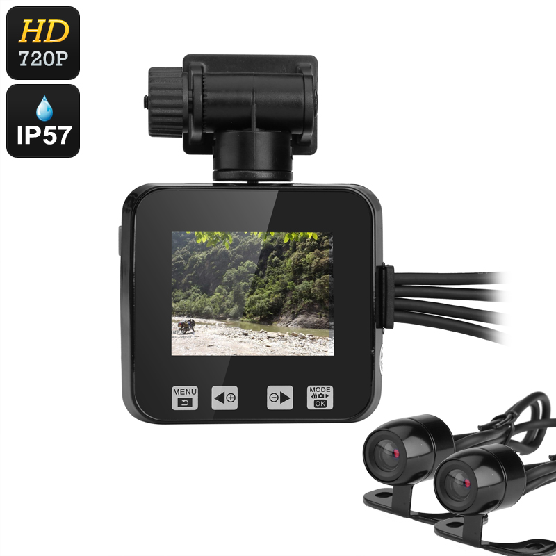 Wholesale Dual Camera Motorcycle DVR (IP57 Waterproof, 720p, Loop Recordin