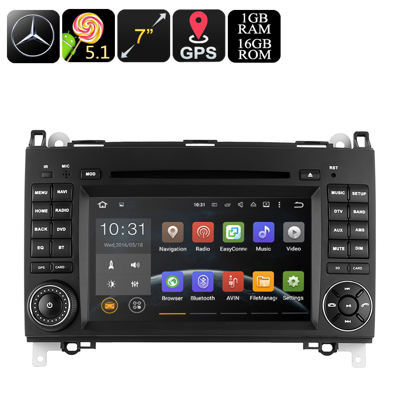 Wholesale 7 Inch Dual DIN Android Car DVD Player For Mercedes-Benz B200 (GPS, Bluetooth, Wi-Fi, 16GB)