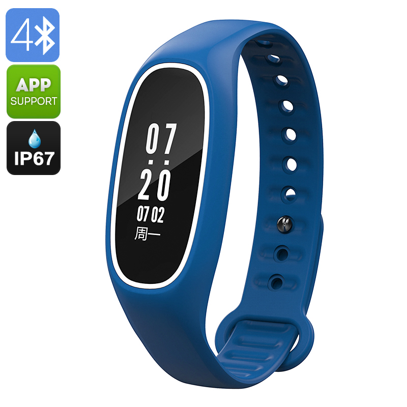 Wholesale DB01 Swimming Fitness Tracker Bracelet (IP67 Waterproof, Blood Pressure + Heart Rate Monitor, Blue)