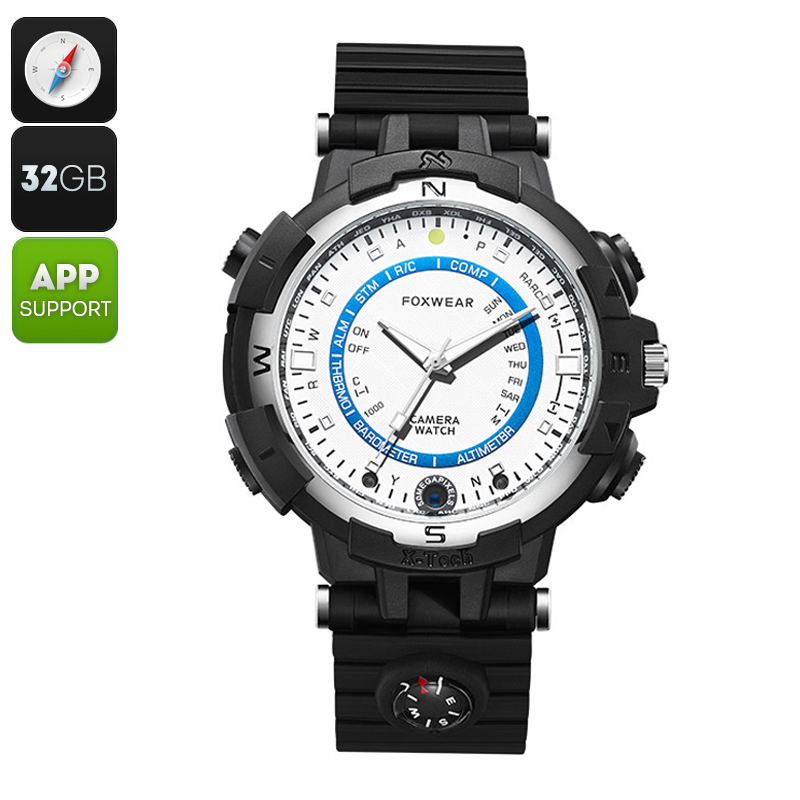 Wholesale Foxwear FOX8 Outdoor Quartz Watch with 720p Camera and Compass (HD Video, 30FPS, WiFi, 32GB, White)