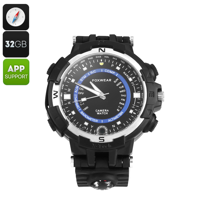 Wholesale Foxwear FOX8 Outdoor Quartz Watch with 720p Camera and Compass (HD Video, 30FPS, WiFi, 32GB, Black)